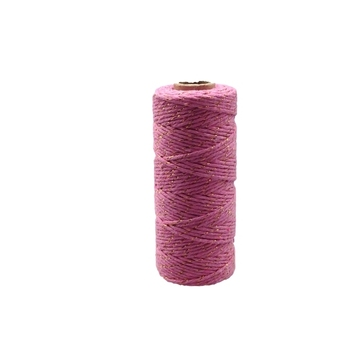 12ply Bakers Twine - Pink with Gold Metalic Thread