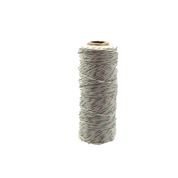 12ply Bakers Twine - White with Green Metalic Thread