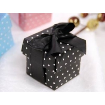 Favor Box - 2pc - 50pk  - Black Polka Dot