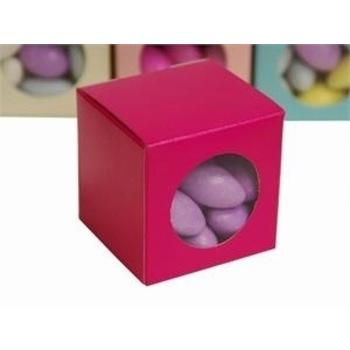 Favor Box - 2x2 Window Cube - 50pc - Fushia