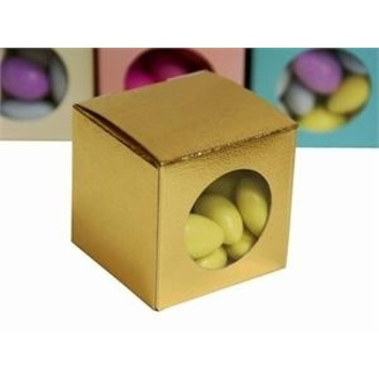 Favor Box - 2x2 Window Cube - 50pc - Gold