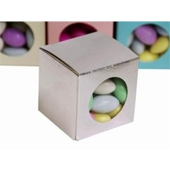 Favor Box - 2x2 Window Cube - 50pc - Silver