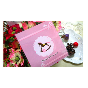 100pk - Pink Cellophane Favor Bag with Horse