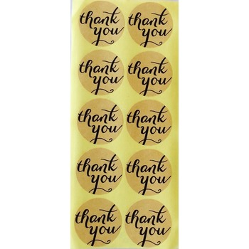 10 x Craft paper brown Thank you Sticker