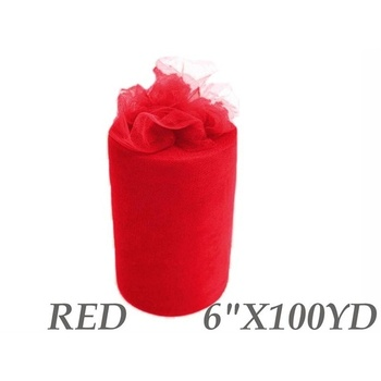6inch x 100yd Quality Tulle Roll - Red