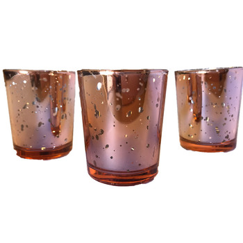12pk Rose Gold Mercury Glass Votive Tea Light Candle Holder