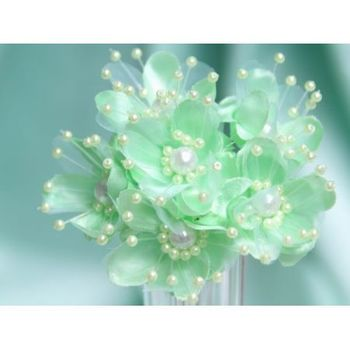 Faux Pearl Flower - Mint - 72/pk