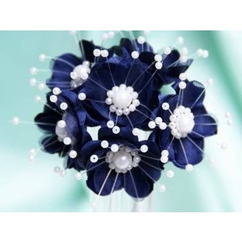 Faux Pearl Flower - Navy Blue - 72/pk