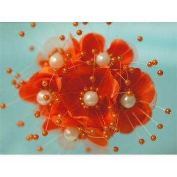 Faux Pearl Flower - Orange - 72/pk
