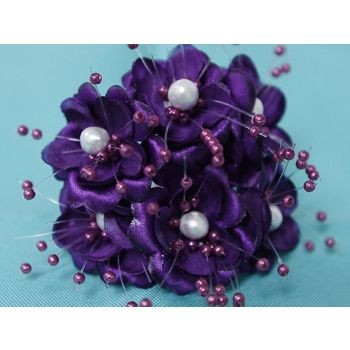 Faux Pearl Flower - Purple - 72/pk