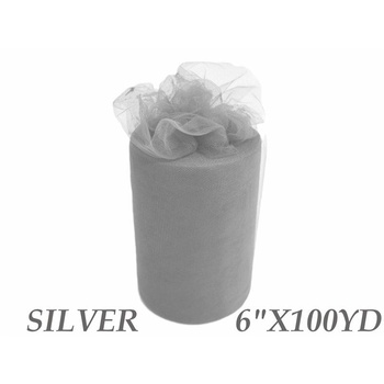 6inch x 100yd Quality Tulle Roll - Silver