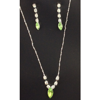 CLEARANCE Necklace & Earring Wedding Set 335306 - Rhinestone - Green
