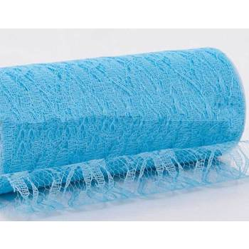 Blue 6inch x 11yd Lace Design Tulle Roll