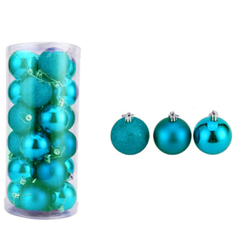 6cm Turquoise Christmas Baubles 24/pc