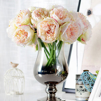 5 Head Peony Bouquet - Champagne/Pink