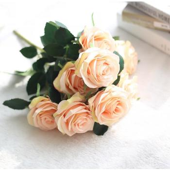 47cm - Deluxe 10 Head Rose Bush - Soft Pink/champage