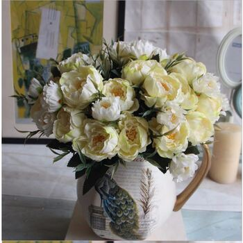 8 Head Small Yellow/White Peony Filler Flower Bunch