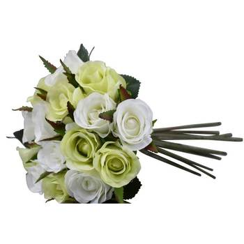 Green & White - Semi Closed Rose Bouquet - Clearance
