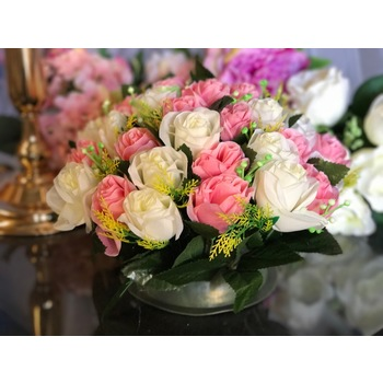 30cm - Pink & White  Artificial Rose Flower Arrangement - 37 Flowers