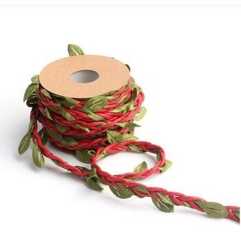 10m Burlap/Jute Leaf Cord - Red