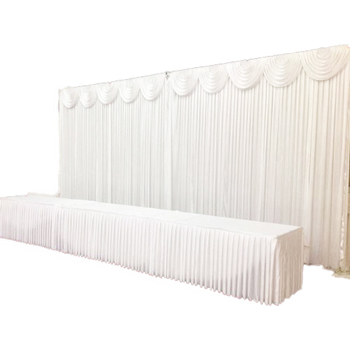 3m White Ice Backdrop Curtain with Swagging