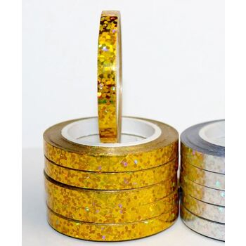 5mm Gold Laser Foil Balloon Curling Ribbon - 10m