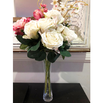 55cm - 7 Head Rose & Filler Flower Bush - Cream