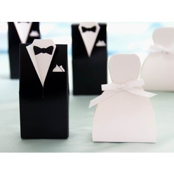 100pk Favor Box - Dress  White
