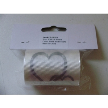 Car Ribbon - White with Silver Heart