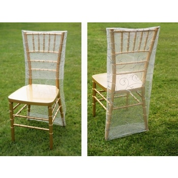 CLEARANCE Chair Covers (Slip Cover) - Embroidered - Silver