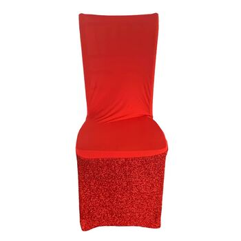 Glitter Mesh & Lycra Chair Cover - Red