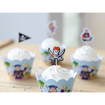 Pirate Cup Cake  12 Wrapper & 12 Picks