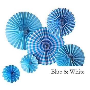 6pc set Fan Lanterns - Blue & White