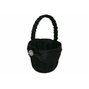 Flower Girl Basket - Rhinestone Button Black