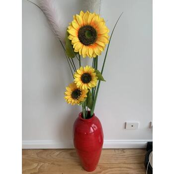 115cm Tall Giant Sunflower Stem W/ 3 Flowers