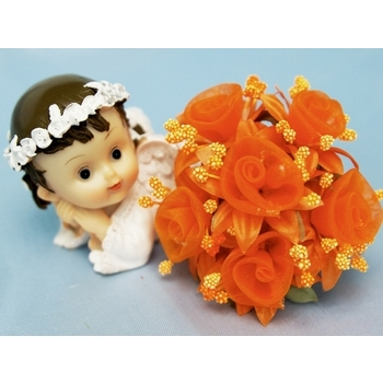 72 Shimmering Organza Rose Craft Flowers - orange