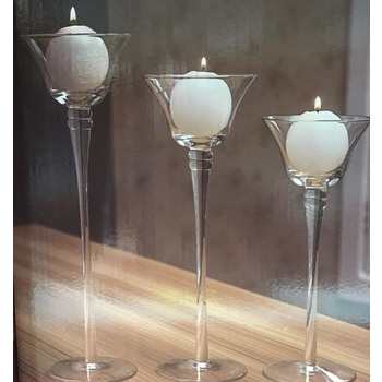 3pk Stemmed Votive Candle Holder - Style 4