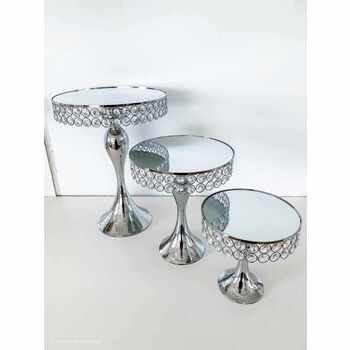3pc Set Large Silver Cake Stands