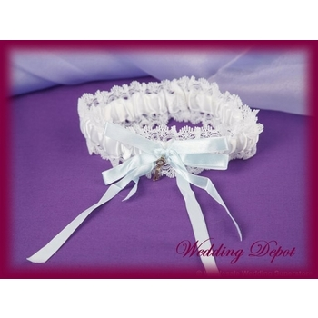 Garter Wedding - Satin and Lace with Gold Key - Blue & White CLEARANCE