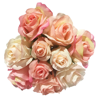 Silk Rose Bouquet - 26cm - W/ 7 Flowers & 3 Buds - Pink