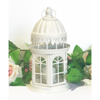 Cream Round Metal Lantern with Glass Sides 23cm