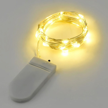 1m Warm White inLine LED Fairy Lights - Button Battery