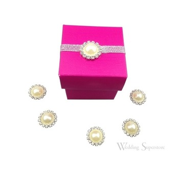 10pk Round Pearl and Rhinestone Cluster 18mm