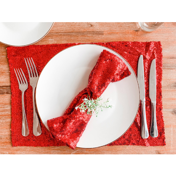 10pk Sequin Placemat/Napkin - Red