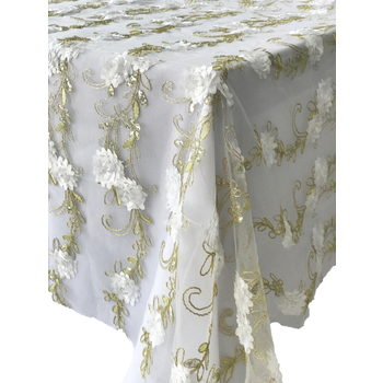 White Flower Gold Embroidery Table Overlay 90inch