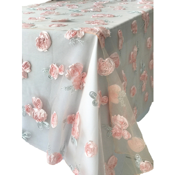 Pink Ribbon Flower  Table Overlay 90inch