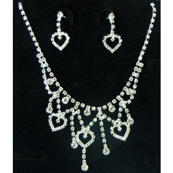 CLEARANCE Necklace & Earring Wedding Set 401 - Rhinestone