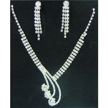 CLEARANCE Necklace & Earring Wedding Set 413 - Rhinestone