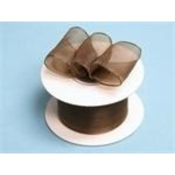 1 1/2 Wired Organza Ribbon - Chocolate