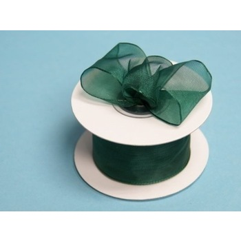 1 1/2 Wired Organza Ribbon - Hunter